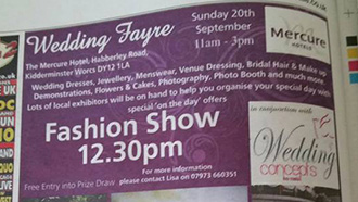 Exhibition at The Mercure, 20th September – 11am